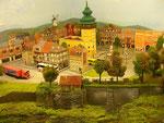 Retzer Hauptplatz mit Rathaus, dahinter die Windmühle.