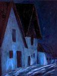 """Winterliche Szene in der Hadreser Kellergasse (Ölbild; siehe auch unter """"Gemaltes"""")"""