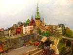 Der markante Stadtturm von Znaim (Znojmo) in Tschechien.