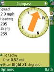 Geocache Navigator Kompass-Ansicht