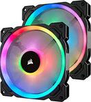 Corsair LL140 RGB LED PWM PC-Gehäuselüfter (140mm Dual Licht Loop RGB LED, Zweierpack mit Lighting Node PRO) schwarz