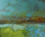 Petite déambulation ou paysage, 50 x 40 cm, acrylique, craies grasses sur carton entoillé, 2011