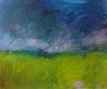 Petite déambulation ou paysage, 50 x 40 cm, acrylique, craies grasses sur carton entoilé, 2011