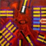Respuesta Neuroquímica (serie Seducción) - Mixta sobre lienzo 40 x 40 cm