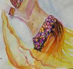Bauchtänzerin, Aquarell, Feder, 30 x 30 cm