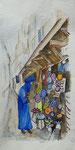 In Essaouira, Aquarell, Stifte, 30 x 60 cm