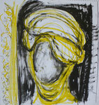 Turban 2, Ölkreide, 50 x 50 cm