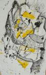 Turban 1, Monotypie,Feder, 21 x 35 cm