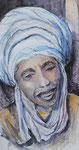 Marokkaner, Feder, Aquarell, 30 x 60 cm