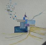 Teppich oder Medina!!??, Aquarell, Feder, 30 x 30 cm