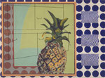 Ananas mit blauem Muster, ca. 60 x 90 cm