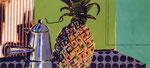 Espressokanne und Ananas, 66 x 130 cm