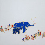 「ゾウと群像」2014 S3(273×273mm)