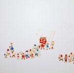 「赤鬼面と群像図」2014  S3(273×273mm)  「しおり展」出品