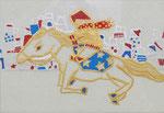 「馬と群像図」2014 ハガキサイズ  「伊勢丹新春祭アートのチカラ」出品