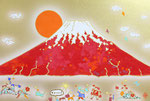 「赤富士図:金」m12号 606×410mm