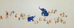 「ゾウと群像」2014 (594×232mm)