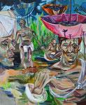 Schirmhirsch, 2015, Acryl/Lack/Ölkreide auf Leinwand, 110x90 cm
