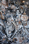 Mudwucht, 2018, Acryl, Lack und Ölkreide auf Leinwand, 120 x 80 cm