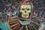 Skeletalks, 2014, Acryl, Lack und Öl auf Leinwand, 60 x 90 cm
