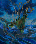 Fluke, 2013-18,  Acryl/Lack/Ölkreide auf Leinwand, 110x90 cm