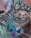 Starbullets, 2015, Acryl und Ölkreide auf Leinwand, 60x50 cm