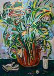 Bloom, 2017, Lack, Acryl und Ölkreide auf Leinwand, 140 x 100 cm