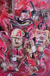 Unwucht, 2018, Acryl, Lack und Ölkreide auf Leinwand, 120 x 80 cm