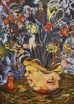 Carnivol, 2017, Lack, Acryl und Ölkreide auf Leinwand, 140 x 100 cm