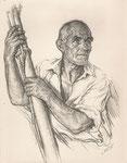 Etude de pêcheur espagnol 1930 fusain André Aaron Bilis