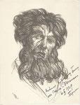 Etude de chanteur russe 1929 fusain André Aaron Bilis