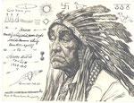 Etude indien Amérique du Nord 1928 fusain André Aaron Bilis