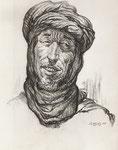 Etude Gorilimine Maroc 1943 fusain André Aaron Bilis