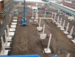 Baubeginn Stahlbeton-Fertigteilstützen