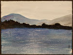 """Eve Ashcraft, Blue Hills, 2014, ink and chalk on paper  8"""" x 6"""""""