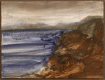 """Eve Ashcraft, Sea, 2013, acrylic and chalk on paper 8"""" x 6"""""""