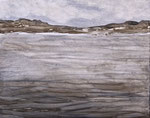 "Eve Ashcraft, Gray Shore, 2014 acrylic on birch panel 10"" x 8"""