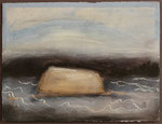 """Eve Ashcraft, Rock in Water, 2013, acrylic, pastel, incisions and chalk on paper  8"""" x 6"""""""