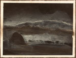 """Eve Ashcraft, Dark Sky, 2013, acrylic, incisions and pastel on paper  8"""" x 6"""""""