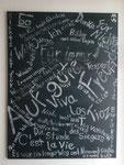 """Songtexte"" Acryl und Kreide auf Leinwand 90x120cm (2014)"