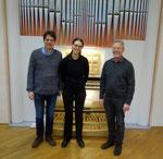 Kiel, Woehl-Orgel im Bach-Saal, mit Philip und Herrn Emmer