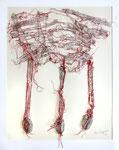 REMAINING MESSAGES, 2019  Zeitungspapier, roter Faden, 40 x 50 cm (1250 € ohne Versand)