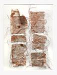 DAS SCHOKOLADENMÄDCHEN, Buchseiten, Faden, Kakao, 50 x 60 cm (850 € ohne Versand)