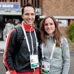 Amsterdam EM Halbmarathon 2016: Anja und Marco vor dem Leichtathletik-Stadion