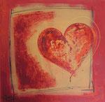 Herz, Acrylcollage, 50x50