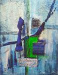 Blue in blue, Mischtechnik, 40x50, Privatbesitz