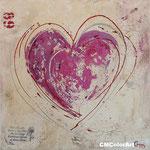 Shabby Chic Heart, Acrylcollage, 40x40, verkauft