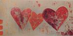 Drei Herzen, Acrylcollage, 30x60