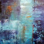 Blue in blue, 40x40, Acrylcollage, Spachteltechnik