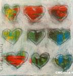 little hearts 4, 13x13, Acryl, verkauft